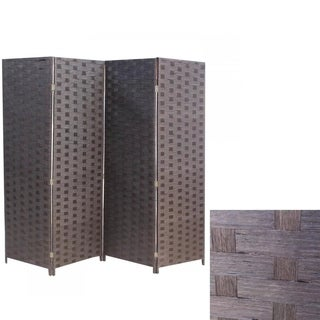 Wood Mesh Woven 4 Panel Floding Wooden Screen Room Divider 180
