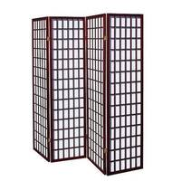 4 Panel Japanese Oriental Room Divider Hardwood Screen Privacy Wall