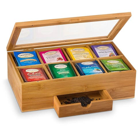 Bambusi Tea Box With 8 Storage Sections Expandable Drawer By Belmint