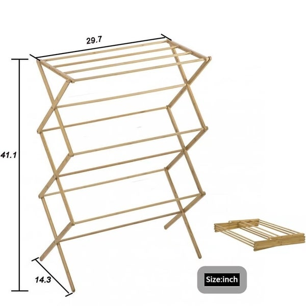 Shop Indoor Folding Bamboo Clothes Drying Rack Dry Laundry Hang