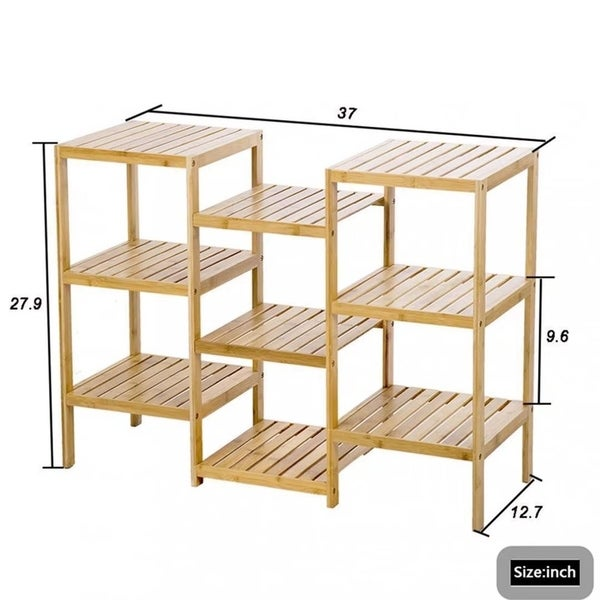 Bamboo Storage Shelf Rack Plant Display Stand 9 Tier Rack Unit 945