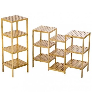 Bamboo Storage Shelf Rack Plant Display Stand 13-Tier Rack Unit 1270