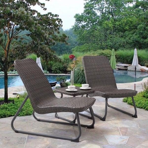 Outdoor 3 Piece All Weather Patio Garden Conversation Chair U0026Table Set
