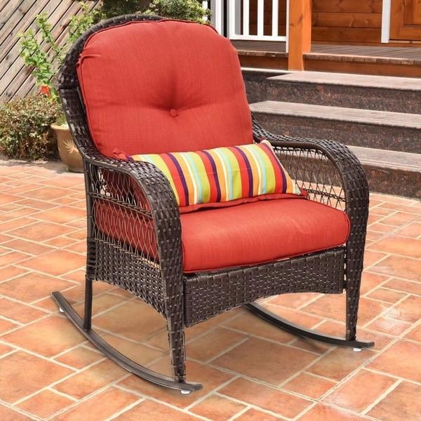Outdoor Wicker Rocking Chair Porch Deck Rocker Patio Furniture