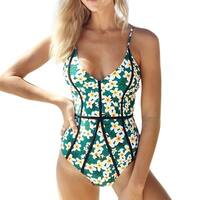 Cupshe Women's Floral Printing Deep V neck One-piece Cutout Swimsuit Padded Swimwear Bathing Suit