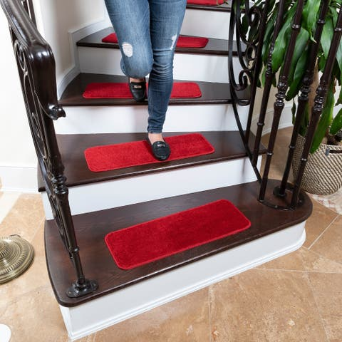 Ottomanson Comfort Collection Soft Shag Solid Design Stair Treads