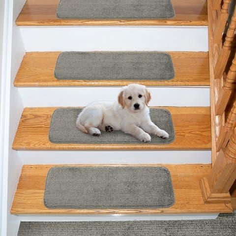 Ottomanson Comfort Soft Solid Non Slip Pet Friendly Stair Treads