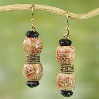Handmade Sese Wood Recycled Plastic 'Rustic Melodies' Earrings (Ghana)
