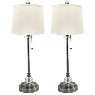 "Royal Designs Set of 2 Buffet Lamps in Brush Nickel with Linen White Hard Back Lamp Shades - 27"" Tall"