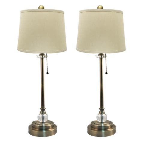 Royal Designs Set Of 2 Buffet Lamps In Antique Br With Linen Cream Hard Back Lamp