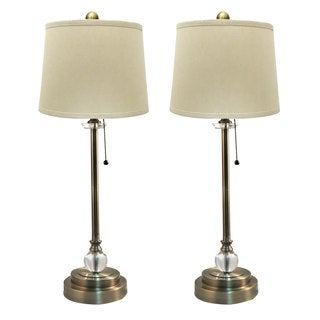 "Royal Designs Set of 2 Buffet Lamps in Antique Brass with Linen Cream Hard Back Lamp Shades - 27"" Tall"