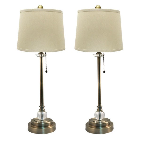 Shop Royal Designs Set Of 2 Buffet Lamps In Antique Brass
