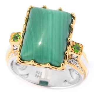 Michael Valitutti Palladium Silver Mini Rectangle Cabochon Malachite & Chrome Diopside Cocktail Ring