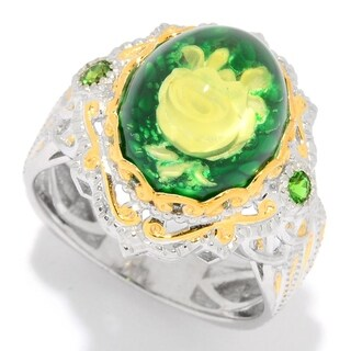 Michael Valitutti Palladium Silver Green Amber Carved Flower Intaglio & Chrome Diopside Ring