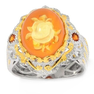 Michael Valitutti Palladium Silver Yellow Amber Carved Flower Intaglio & Madeira Citrine Ring