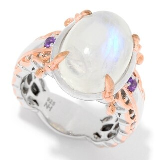 Michael Valitutti Palladium Silver Mini Oval Cabochon Moonstone & Amethyst Cocktail Ring