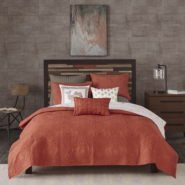 INK+IVY Kandula Cotton Coral Reversible Coverlet Mini Set King/ Cal-King Size (As Is Item). Opens flyout.