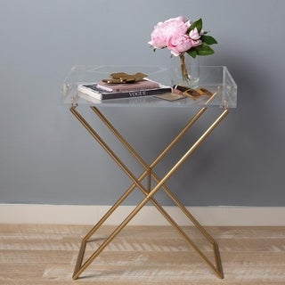 Calven Acrylic Top Tray Table with Gold Finish