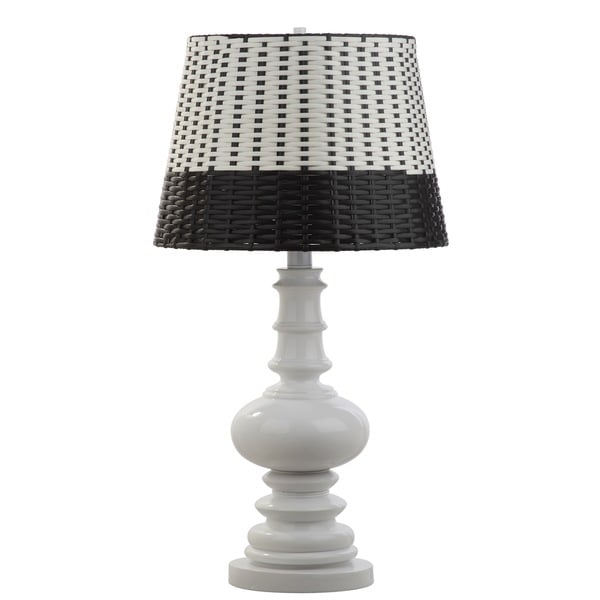 Safavieh Lighting 33-inch Macen Woven White/ Black Table Lamp
