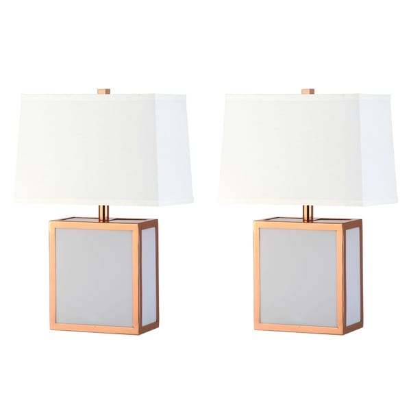 Safavieh Lighting 20-inch Sayer Modern Copper/ White Table Lamp (Set of 2)