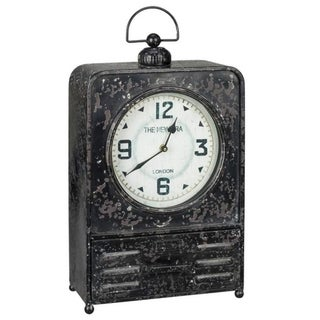 Carbon Loft Pawnee Black Metal Table Clock