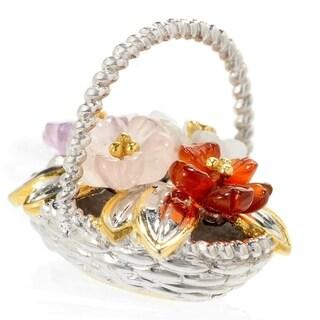 Michael Valitutti Palladium Silver Multi Gemstone Carved Flower Bouquet Basket Drop Charm