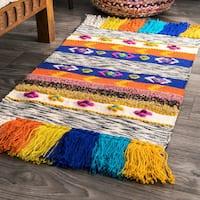 nuLOOM Southwestern Striped Tribal Hand-Woven Jute Flatweave Multi Tassel Runner Rug (2' x 6') - 2' x 6' runner