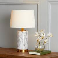 Safavieh Lighting 18.25-inch Clarabel White/ Black Marble Table Lamp