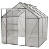 Ogrow Aluminium Greenhouse - Walk-In 6' X 6'- With Sliding Door And Double Roof Vent