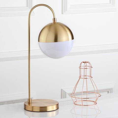 "Safavieh Lighting 21-inch Mid-Century Brass Gold Cappi LED Task Table Lamp - 9.75""x7""x20.5"""