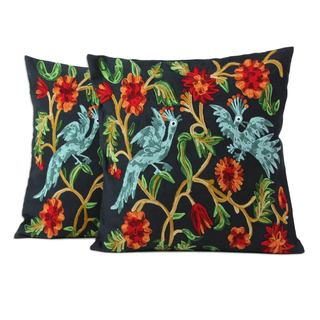 Cotton Cushion Covers, 'Blue Cockatoos' (Set of 2) (India)