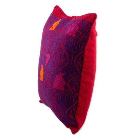 Handmade Birds in Color Cotton Cushion Cover (Guatemala)