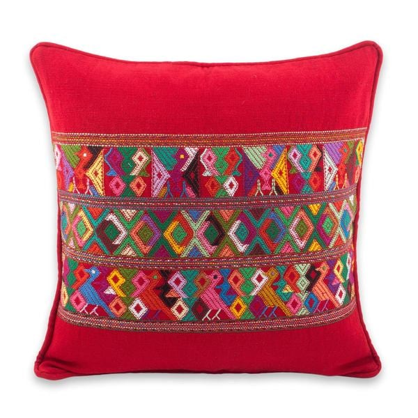 Shop Cotton Cushion Cover 'Red Quiche Birds' Guatemala On Sale Magnificent Guatemalan Pillow Covers