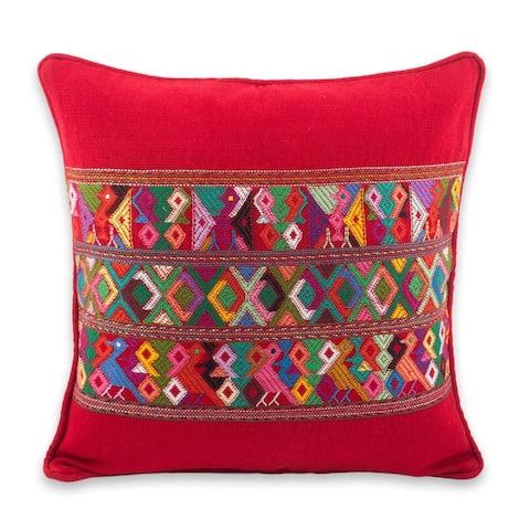Handmade Cotton Cushion Cover Red Quiche Birds (Guatemala)