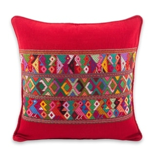 Handmade Cotton Cushion Cover Red Quiche Birds (Guatemala)