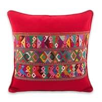 Cotton Cushion Cover, 'Red Quiche Birds' (Guatemala)