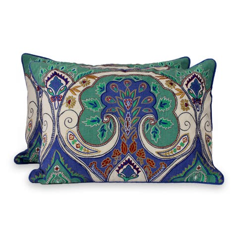 Embroidered Set of 2 Cushion Covers Autumn In Delhi