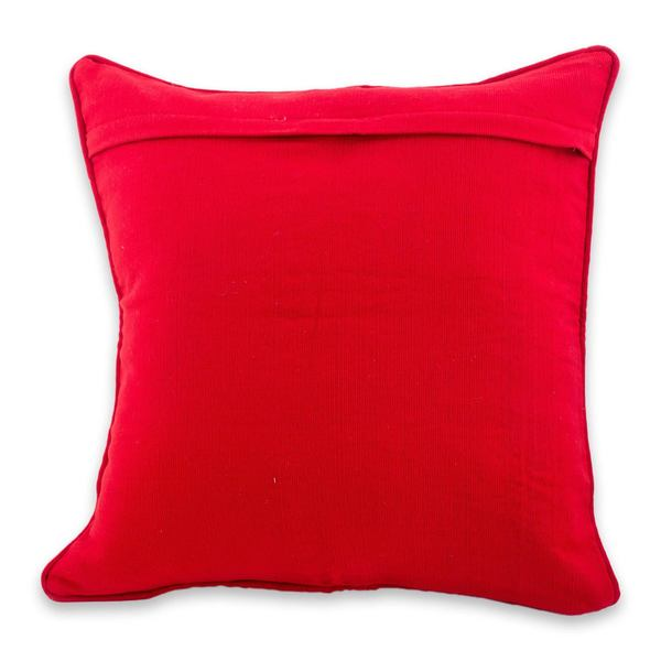 Handmade Cotton Cushion Cover Red Birds In Corn (Guatemala)