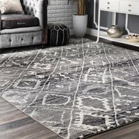 nuLoom Contemporary Moroccan Trellis Dark Grey/ Off White Area Rug (8' x 10')
