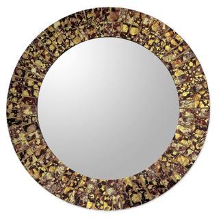 Handmade Golden Splash Glass Mosaic Mirror (India)