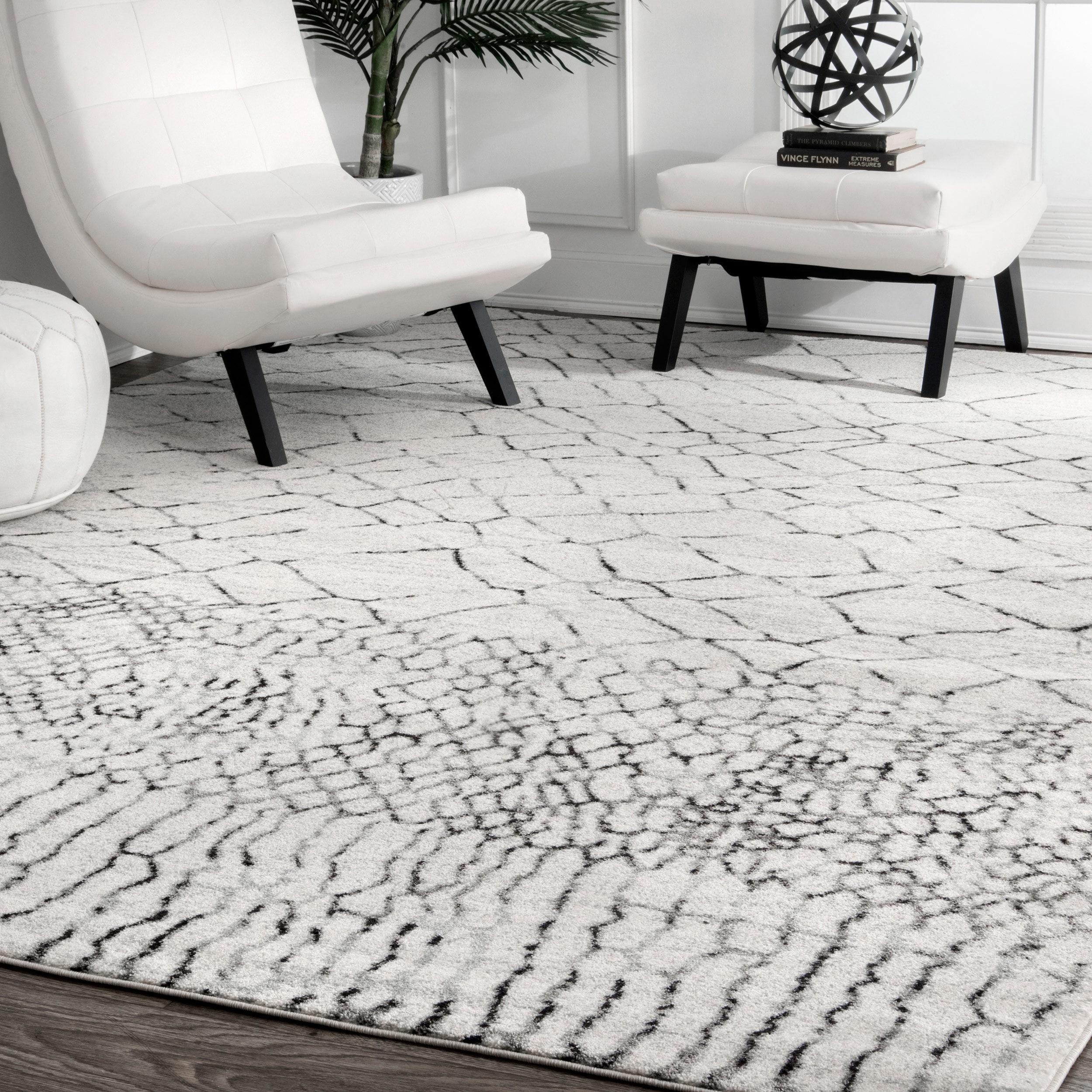 Rugs Grey Geometric Moroccan Tile Living Room Rugs Ivory
