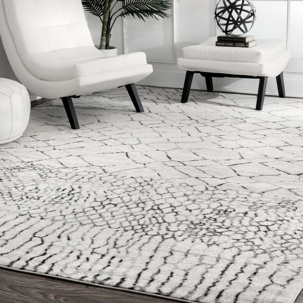 0cac36d4a66 Shop nuLOOM Ivory Grey Contemporary Moroccan Abstract Area Rug - On ...