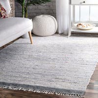 nuLOOM Contemporary Flatweave Cotton Tassel Multi Rug (5' x 8') - 5' x 8'