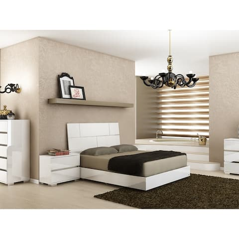 PISA High Gloss White Lacquer w Stainless Steel King Bed by Talenti Casa