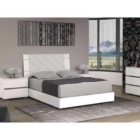 DIAMANTI Light gray eco-leather headboard and high gloss white lacquer Queen Bed by Talenti Casa