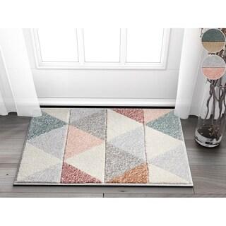 "Well Woven Modern Geometric Triangles Cream Mat Accent Rug - 2'3"" x 3'11"""