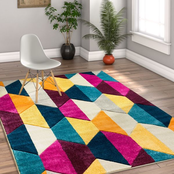 "Well Woven Modern Geometric Hexa Cream Mat Accent Rug - 2'3"" x 3'11"""