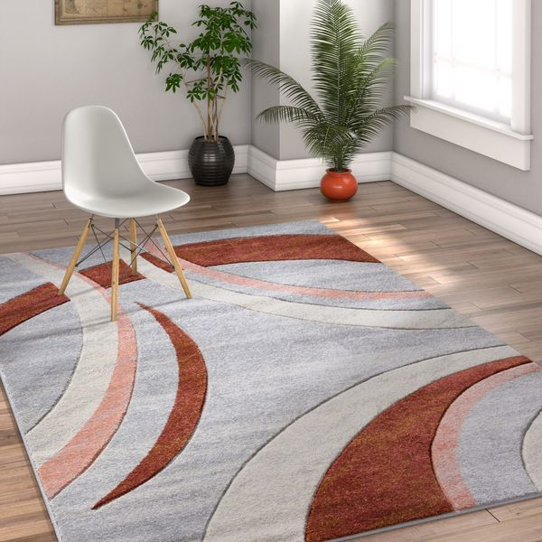 Well Woven Modern Geometric Triangles Cream Area Rug - 7'10 x 9'10