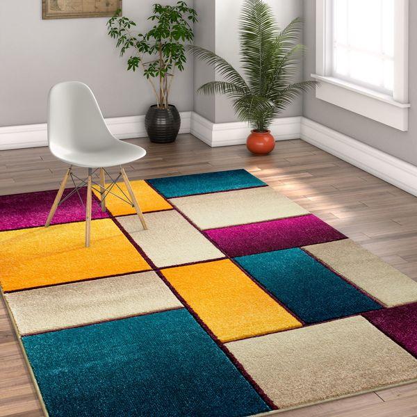 Well Woven Modern Geometric Color Blocks Cream Area Rug - 7'10 x 9'10
