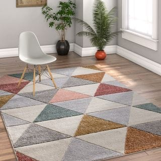 Well Woven Modern Abstract Geometric Grey Area Rug - 5'3 x 7'3